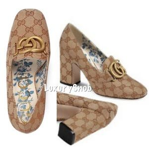 Gucci Victoire GG Monogram Double G Canvas Heels